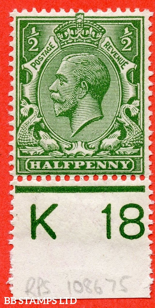 """SG. 354 variety N14 (UNLISTED). ½d deep yellow green. A super UNMOUNTED MINT control """" K18 perf """" example of this known but unlisted by SG. George V shade variety. Complete with RPS certificate."""