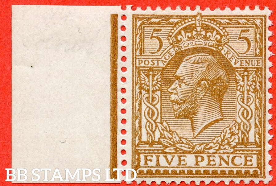 SG. 383. N25 (6). 5d bistre brown. A superb UNMOUNTED MINT left hand marginal example of this very scarce George V shade variety complete with BRANDON certificate.