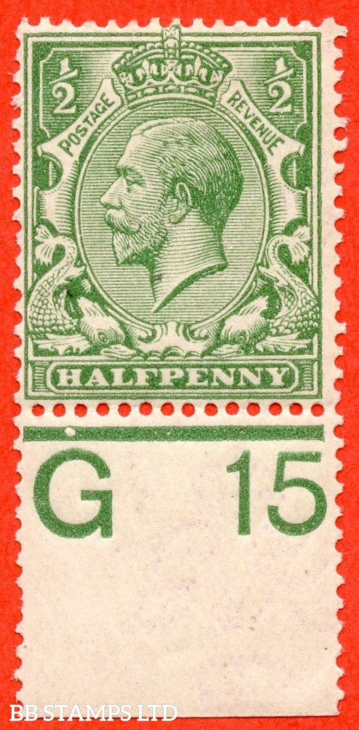 """SG. 351. ½d Green. A fine mounted mint """" G15 perf """" control single."""