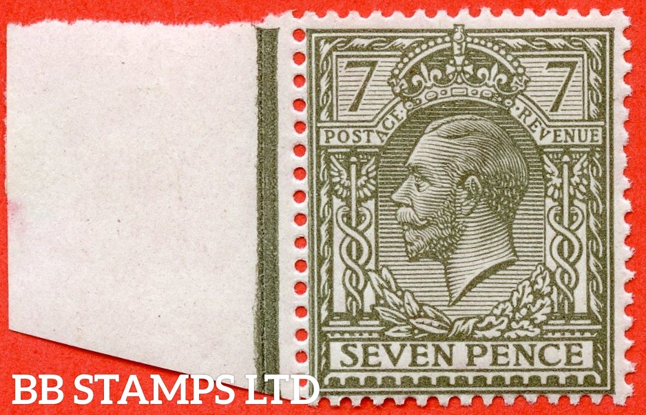SG. 387 variety N27 (UNLISTED). 7d pale olive grey. A very fine UNMOUNTED MINT left hand marginal example of this known but unlisted by SG. George V Shade variety complete with Hendon certificate.