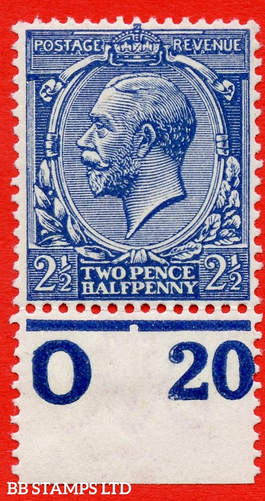 """SG. 373. N21 (14). 2½d Indigo Blue. A superb UNMOUNTED MINT control """" 020 perf """" example of this VERY RARE George V shade complete with BRANDON certificate."""