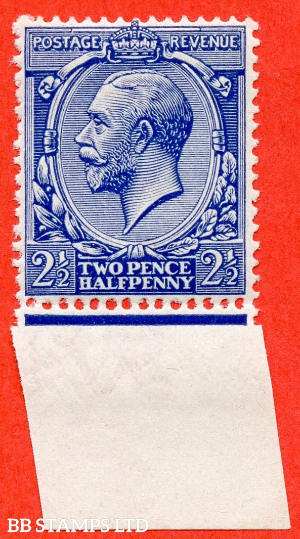 SG. N21 (UNLISTED). 2½d deep ultramarine. A fine UNMOUNTED MINT bottom marginal example of this known but unlisted by SG. George V shade variety complete with Hendon certificate.