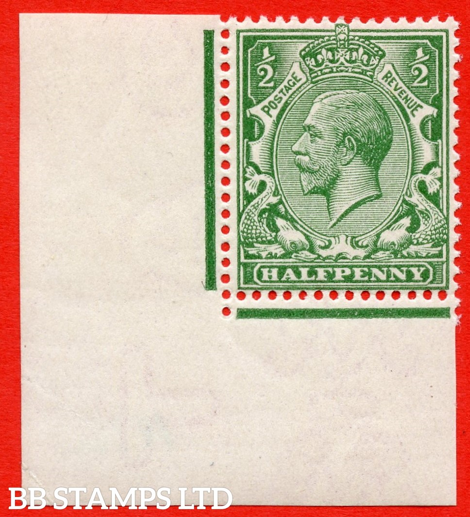 """SG. 351. N14 (1). ½d green. """" TONED WARTIME PAPER """". A super UNMOUNTED MINT bottom left hand corner marginal example of this well known paper variety. Complete with Hendon certificate."""