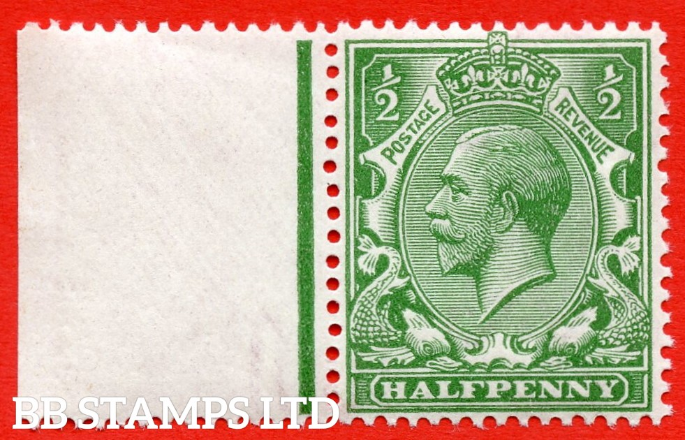 SG. 352 variety N14 ( UNLISTED ). ½d bright cobalt yellow green. A fine UNMOUNTED MINT left hand marginal example of this known but unlisted by SG George V shade variety. Complete with HENDON certificate.