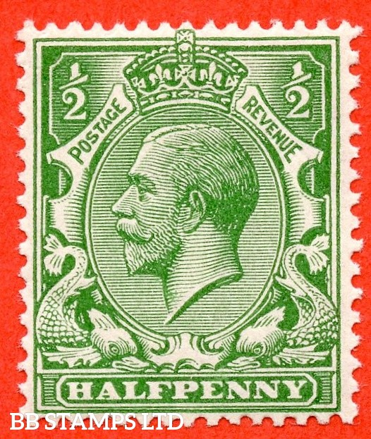 SG. 356 variety N14 (UNLISTED). ½d Bright Cobalt Green. A very fine UNMOUNTED MINT example of this known but unlisted by SG George V shade variety. Complete with Hendon certificate.