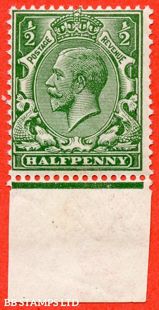 SG. 356 variety N14 ( UNLISTED ). ½d Deep Dull Blue Green. A very fine UNMOUNTED MINT bottom marginal example of this known but unlisted by SG George V shade variety. Complete with Hendon certificate.