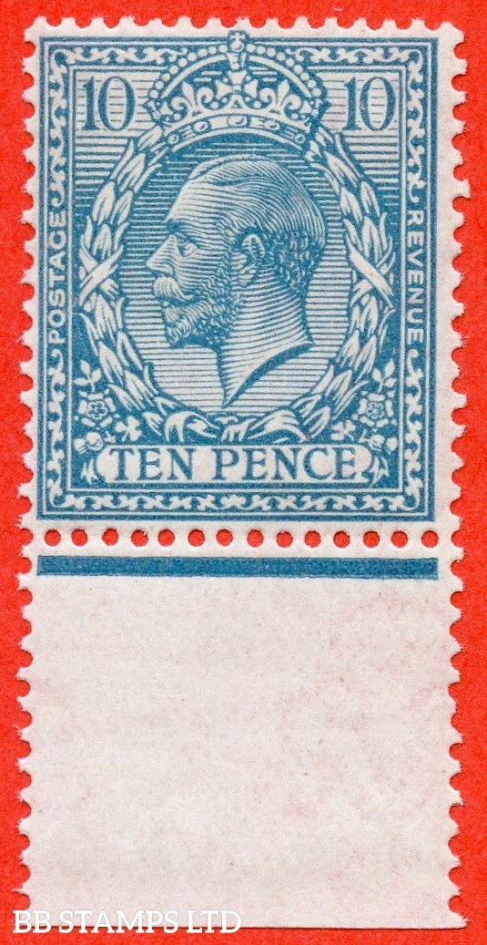 SG. 394 variety N31 ( UNLISTED ). 10d pale bright turquoise blue. A fine UNMOUNTED MINT bottom marginal example of this known but unlisted George V shade variety. Complete with HENDON certificate.