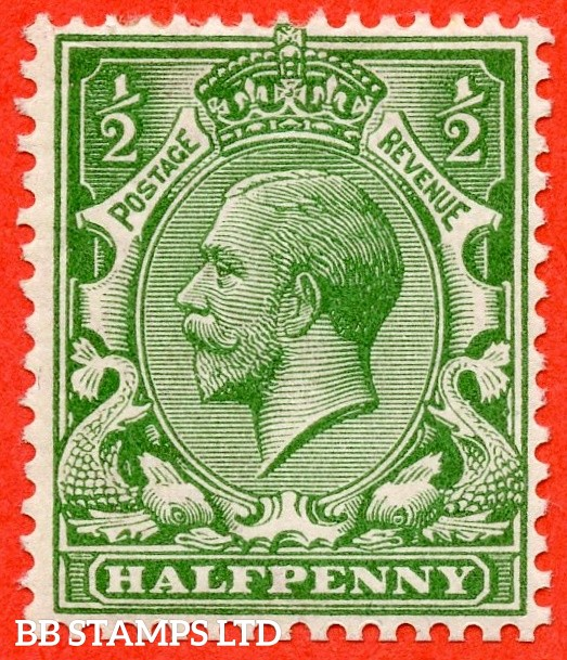 SG. 352 variety N14 (UNLISTED). ½d bright cobalt yellow green. A fine mounted mint example of this known but unlisted by SG George V shade variety. Complete with HENDON certificate.