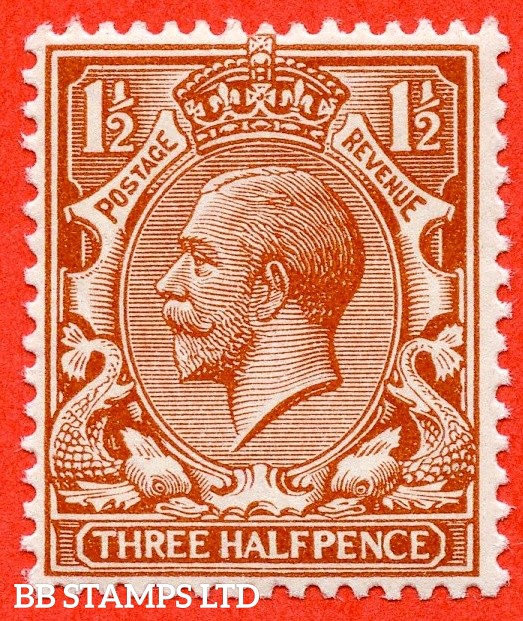 SG. 364 variety N18 (UNLISTED). 1½d bright orange brown A super UNMOUNTED MINT example of this known but unlisted by SG. George V shade variety complete with Hendon certificate.