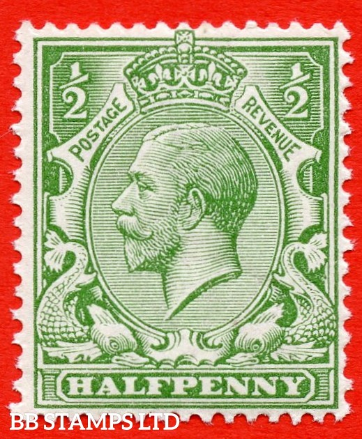 SG. 354 variety N14 (UNLISTED). ½d pale yellow green. A fine UNMOUNTED MINT example of this known but unlisted by SG. George V shade variety complete with HENDON certificate.