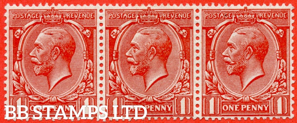 """SG. 357ab variety N16 (5) i. 1d brick red. """" Q """" for """" O """" error. A fine very lightly mounted mint horizontal strip of 3 from row 4/11 with the centre stamp clearly showing this listed variety. Much scarcer than the variety from row 1/4."""