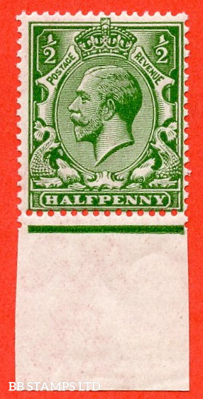 SG. 352 variety N14 (7). ½d deep bright green. A fine UNMOUNTED MINT bottom marginal example complete with Hendon certificate and so good for reference.
