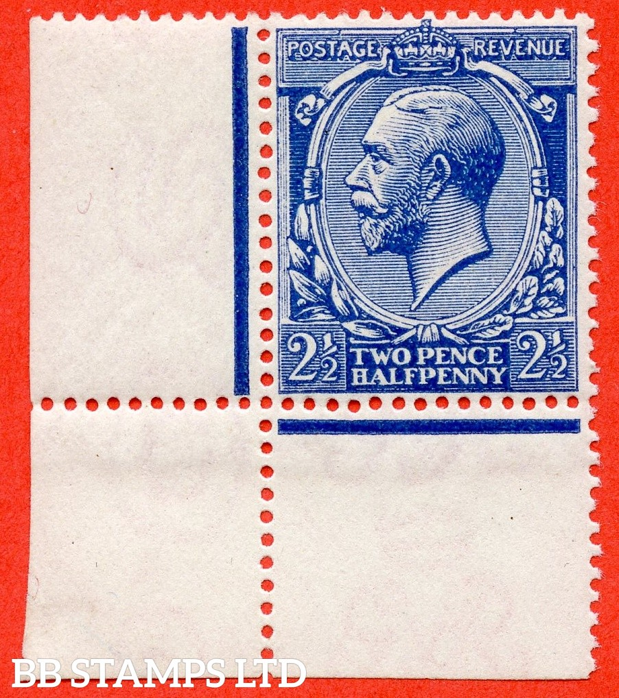 SG. 371a variety N21 (UNLISTED). 2½d VERY DEEP BRIGHT BLUE. A super UNMOUNTED MINT bottom left hand corner marginal example of this known but unlisted by SG. George V shade variety complete with Hendon certificate.