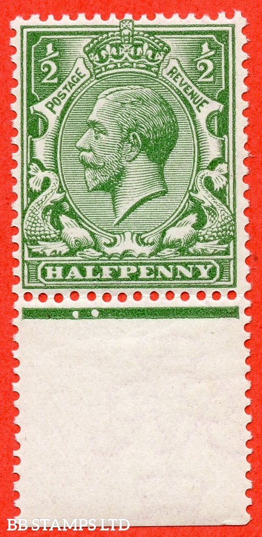 SG. 351 variety N14 ( UNLISTED ). ½d dull green. A fine UNMOUNTED MINT bottom marginal example of this known but unlisted by SG shade variety complete with Hendon certificate.