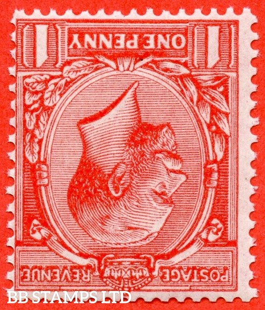 SG. N16 ( UNLISTED ) b. 1d bright rose red. INVERTED WATERMARK. A fine mounted mint example of this known but unlisted by SG George V shade variety. Complete with Hendon certificate.