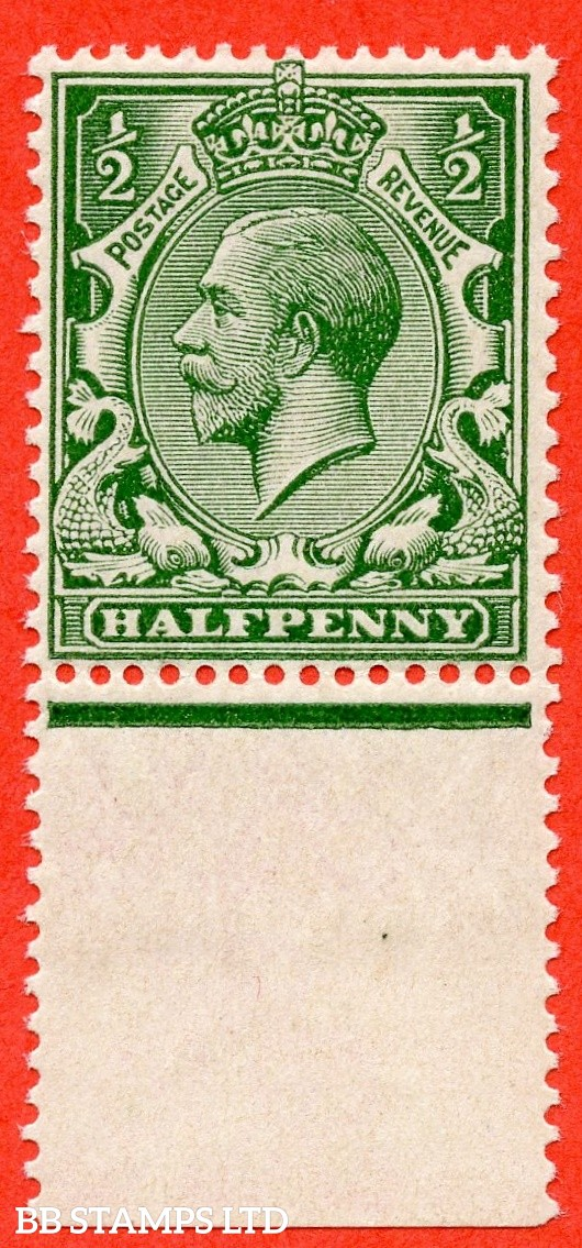 SG. 353 variety N14 (UNLISTED). ½d deep dull green. A fine UNMOUNTED MINT  bottom marginal example of this known but unlisted by SG George V shade variety complete with hendon certificate.