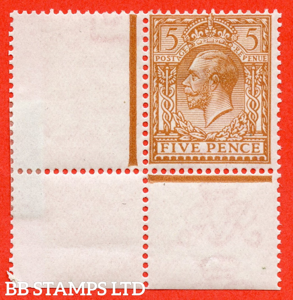 SG. 381 variety N25 ( UNLISTED ). 5d Pale Bright Brown. A fine lightly mounted mint bottom left hand corner marginal example of this known but unlisted by SG George V shade variety. Complete with HENDON certificate.