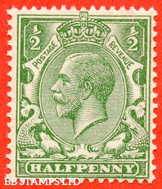 SG. 352 variety N14 ( UNLISTED ). ½d pale bright green. A very fine UNMOUNTED MINT example of this known but unlisted by SG George V shade variety. Complete with Hendon certificate.