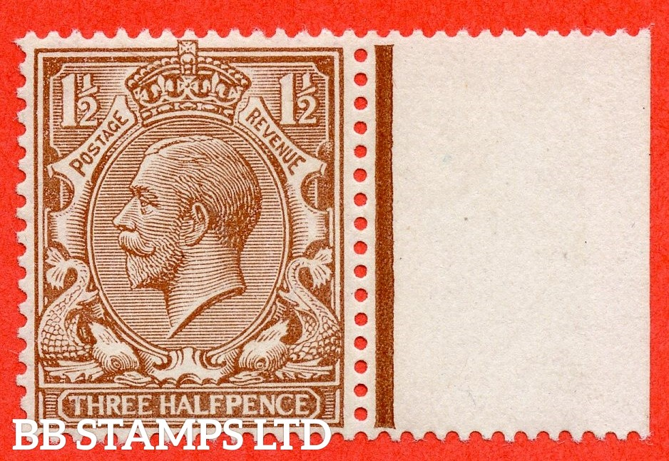SG. 363 variety N18 (9). 1½d pale brown. A super UNMOUNTED MINT right hand marginal example of this RARE George V shade variety complete with HENDON certificate.