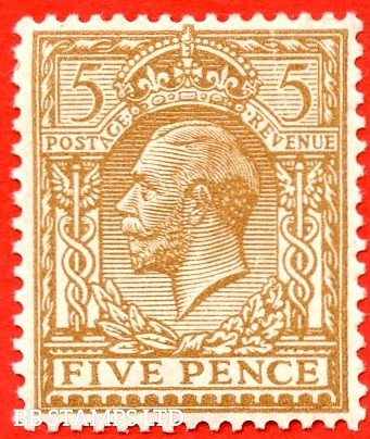 SG. 383. N25 (6). 5d bistre brown. A fine mounted mint example of this George V shade variety. Complete with RPS certificate.