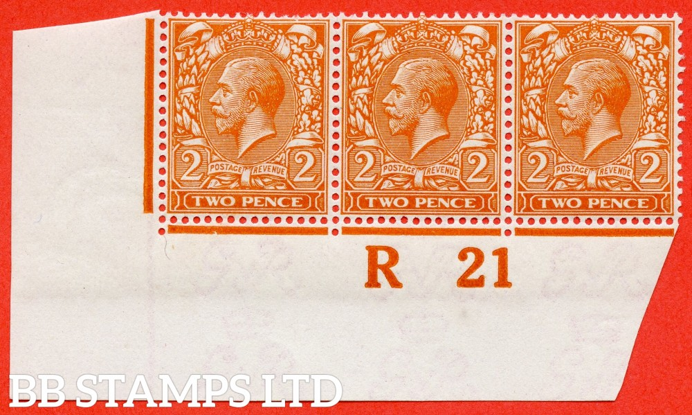 """SG. 369 variety N19 (8). 2d Deep Bright Orange (I). A fine totally UNMOUNTED MINT control """" R21 imperf """" strip of 3 complete with RPS certificate. Excellent for reference."""