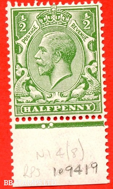 SG. 354. N14 (8). ½d yellow green. A fine UNMOUNTED MINT bottom marginal example complete with RPS certificate. An excellent reference example.