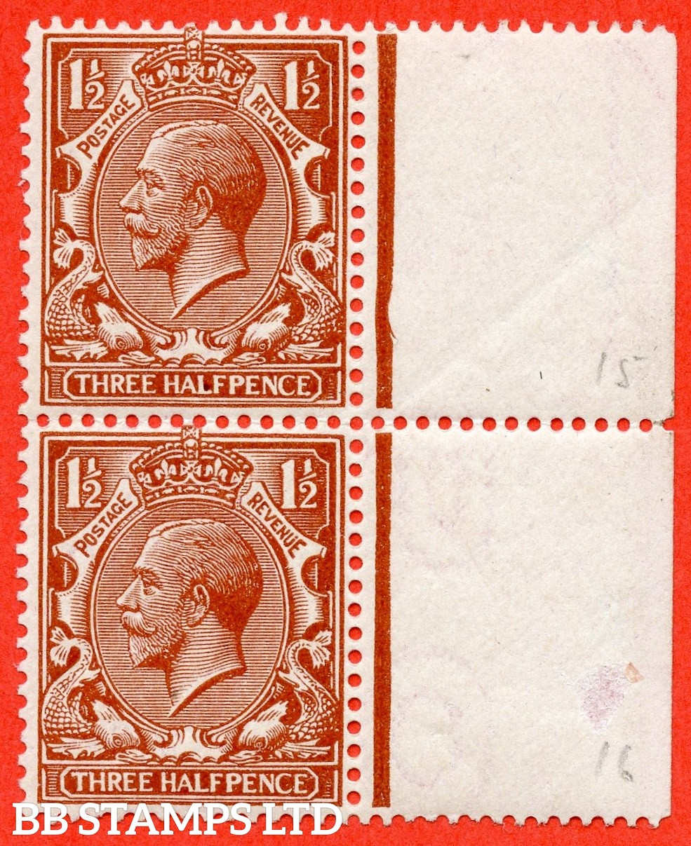 """SG. 362. N18 (1) h. 1½d red - brown. A lightly mounted mint left hand marginal vertical pair with the top stamp having the listed """" PENCE repaired ( Plate 29. Row 15/12 ) """" variety. Complete with BPA certificate."""
