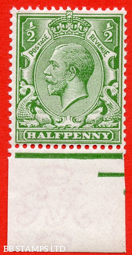 SG. 354 variety N14 (UNLISTED). ½d pale yellow green. A fine UNMOUNTED MINT bottom marginal example of this known but unlisted by SG. George V shade variety complete with HENDON certificate.