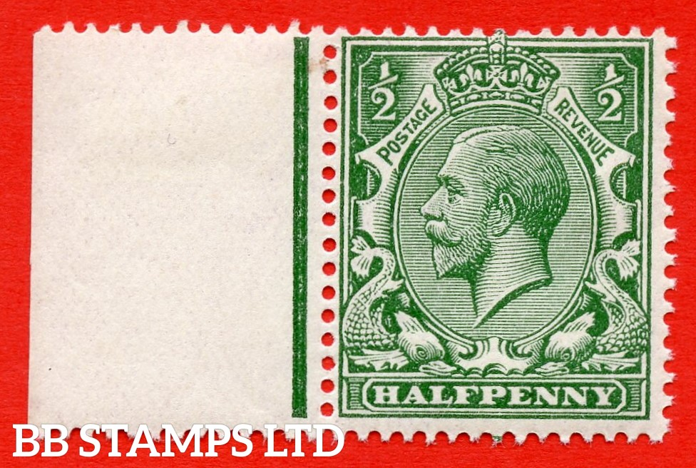 SG. 353 variety N14 ( UNLISTED ). ½d deep grey green. A fine mounted mint left hand marginal example of this known but unlisted by SG shade variety complete with Hendon certificate.