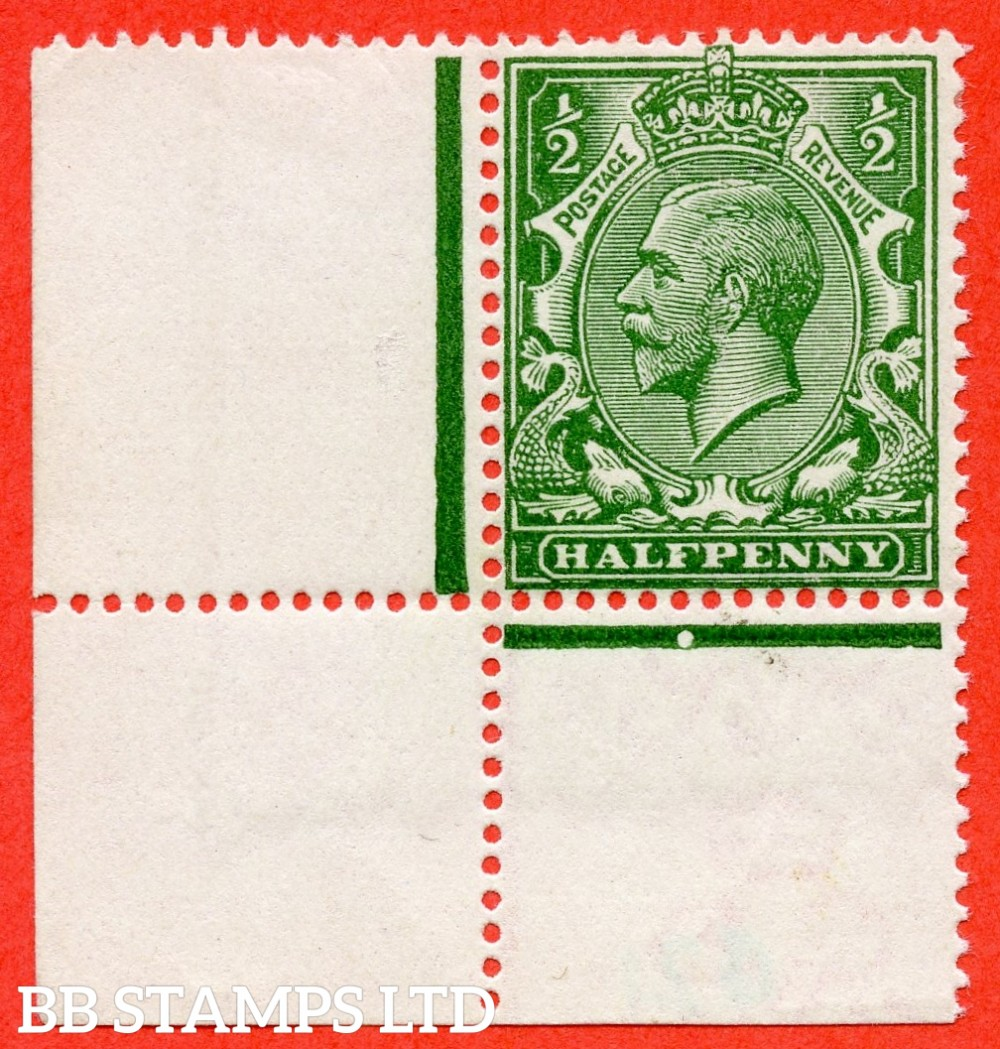 SG. 354 variety N14 ( UNLISTED ). ½d very deep bright yellow green. A very fine UNMOUNTED MINT bottom left hand corner marginal example of this known but unlisted by SG George V shade variety. Complete with Hendon certificate.
