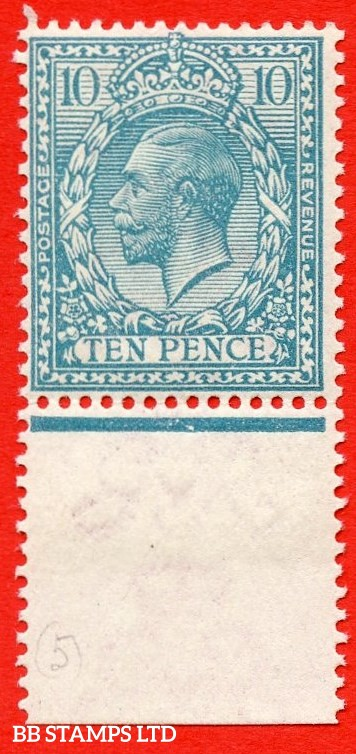 SG. 394a variety N31 (5). 10d pale greenish blue. A superb UNMOUNTED MINT bottom marginal example complete with RPS certificate. Excellent for reference.