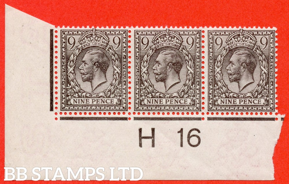 "SG. 392 variety N29 ( UNLISTED). 9d VERY PALE AGATE. A super UNMOUNTED MINT control "" H16 imperf "" strip of 3 of this known but unlisted by SG.George V shade variety. Complete with Hendon certificate."