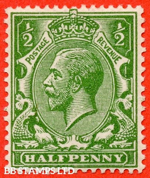 SG. 354 variety N14 ( UNLISTED ). ½d DEEP BRIGHT YELLOW GREEN. A fine UNMOUNTED MINT example of this known but unlisted by SG shade variety complete with Hendon certificate.