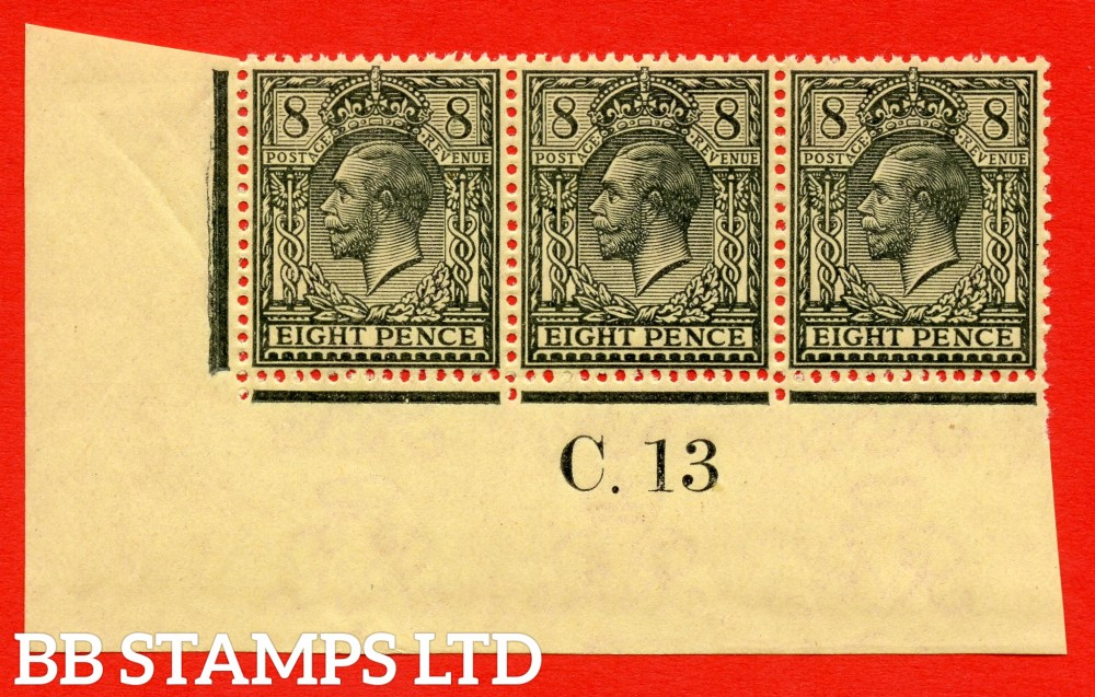 """SG. 390 variety N28 ( UNLISTED ). 8d GREY BLACK ON YELLOW. A fine UNMOUNTED MINT control """" C.13 imperf """" strip of 3 of this known but unlisted by SG. Shade variety. Complete with Hendon certificate."""