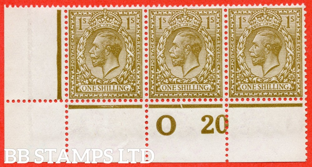 """SG. 396 variety N45 (UNLISTED). 1/- deep olive bistre. A fine UNMOUNTED MINT control """" 020 perf """" strip of 3 of this known but UNLISTED by SG George V shade variety. Perf type 3. Complete with Hendon certificate."""