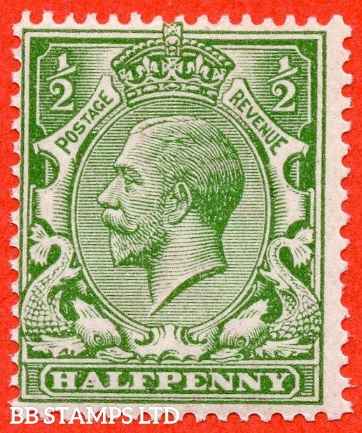 SG. 352 variety N14 ( UNLISTED ). ½d pale bright green. A very fine UNMOUNTED MINT example of this known but unlisted by SG George V shade variety. Complete with Hendon certificate. Short perf but great for reference.