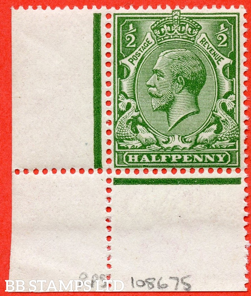 SG. 354 variety N14 (UNLISTED). ½d deep yellow green. A super UNMOUNTED MINT example of this known but unlisted by SG. George V shade variety. Complete with RPS certificate.