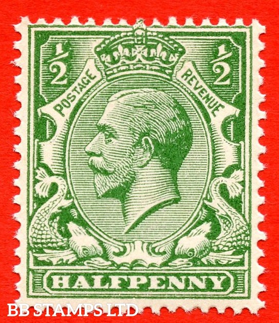 SG. 354 variety N14 ( UNLISTED ). ½d deep dull yellow green. A very fine UNMOUNTED MINT example of this known but unlisted by SG George V shade variety. Complete with Hendon certificate.