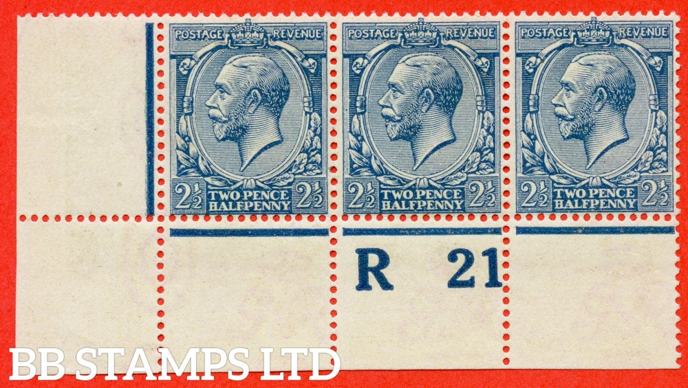 """SG. 373a. N21 (17). 2½d Dull Prussian Blue. A superb ( 2 stamps UNMOUNTED MINT ) mint control """" R21 perf """" strip of 3 complete with RPS certificate. A RARE multiple these days."""