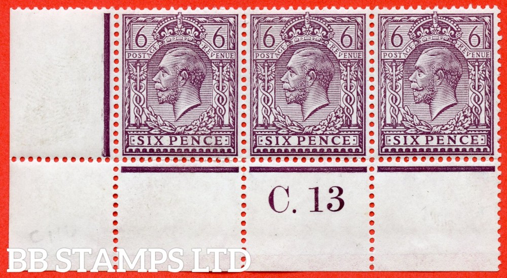 """SG. 384 variety N26 (2). 6d Slate purple. A fine ( 2 stamps UNMOUNTED MINT ) mint vontrol """" C.13 perf """" strip of 3 of this very difficult George V shade complete with RPS certificate. A scarce multiple these days."""