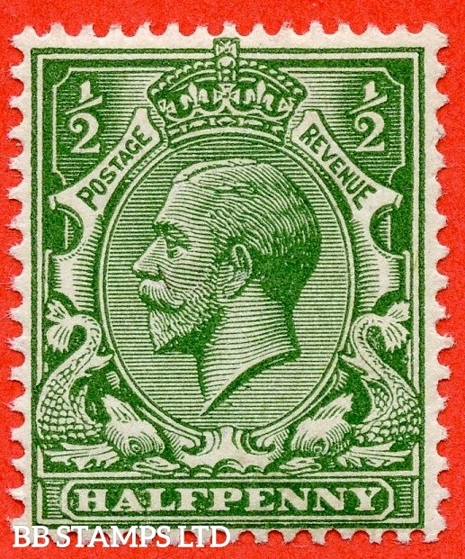 SG. 354 variety N14 (UNLISTED). ½d deep yellow green. A super UNMOUNTED MINT bottom left hand corner marginal example of this known but unlisted by SG. George V shade variety. Complete with RPS certificate.