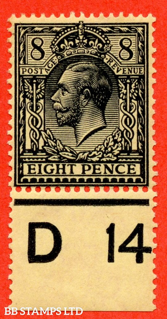 """SG. 390 variety N28 (UNLISTED). 8d Intense Black On Yellow. A fine UNMOUNTED MINT control """" D14 perf """" example of this known but unlisted by SG. Shade variety. Complete with Hendon certificate."""