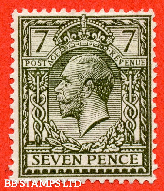 SG. 388 variety N27 ( UNLISTED ). 7d Pale Bronze Green. A fine mounted mint example of this known but unlisted by SG. Shade variety complete with Hendon certificate.