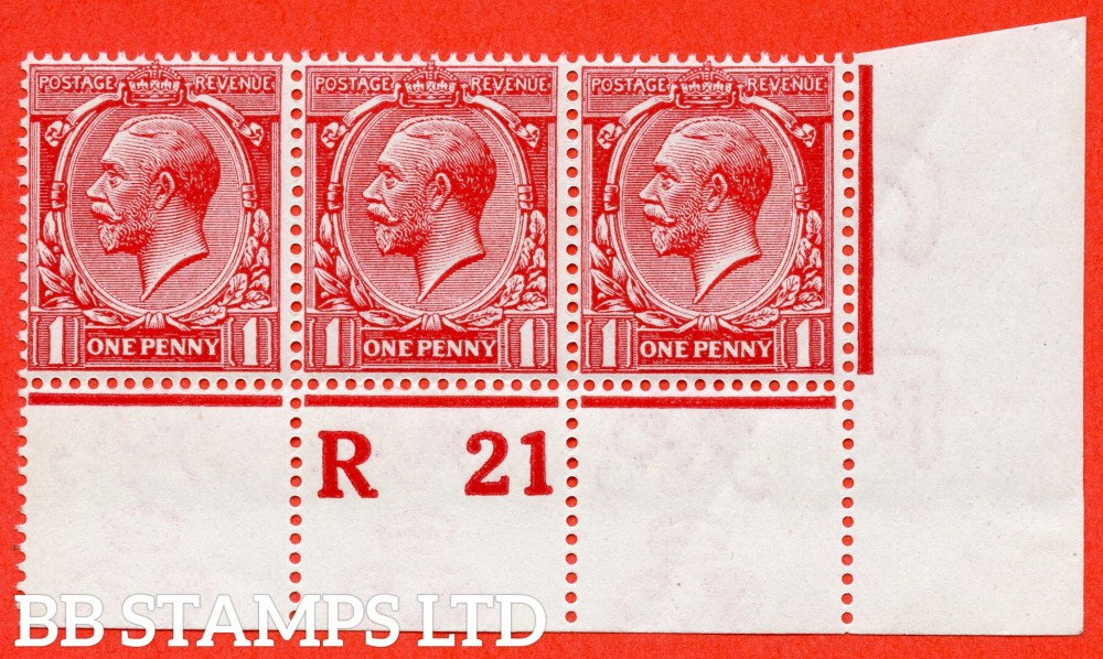 """SG. 359 variety N16 (10a). 1d Carmine. A very fine UNMOUNTED MINT control """" R21 perf """" strip of 3 of this newly listed George V shade variety complete with Hendon certificate."""