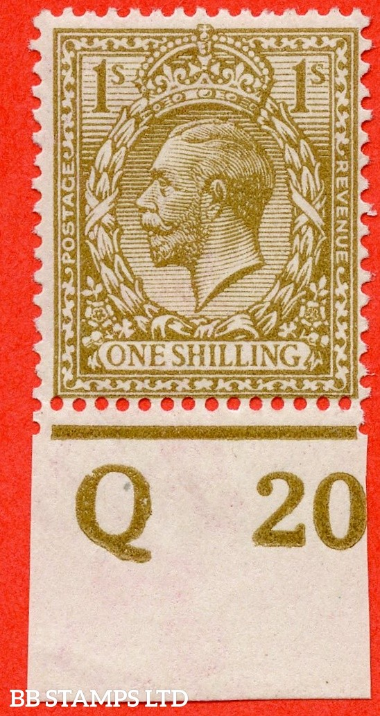 "SG. 396 variety N32 (11). 1/- Yellow Brown. A superb UNMOUNTED MINT bottom marginal control "" Q20 imperf "" example of this RARE George V shade variety complete with RPS certificate."