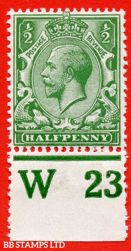 "SG. 356 variety N14 (18). ½d Deep Cobalt Green. A very fine UNMOUNTED MINT bottom marginal control "" W23 perf "" example complete with Hendon certificate."
