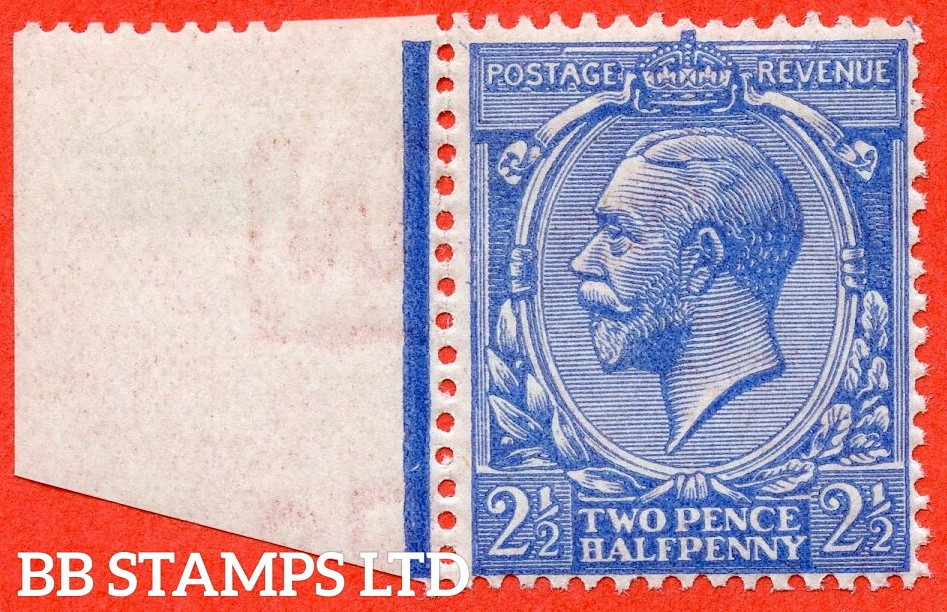 SG. 371 variety N21 (UNLISTED). 2½d pale bright cobalt blue. A fine UNMOUNTED MINT left hand marginal example of this known but unlisted by SG. George V shade variety complete with Hendon certificate.