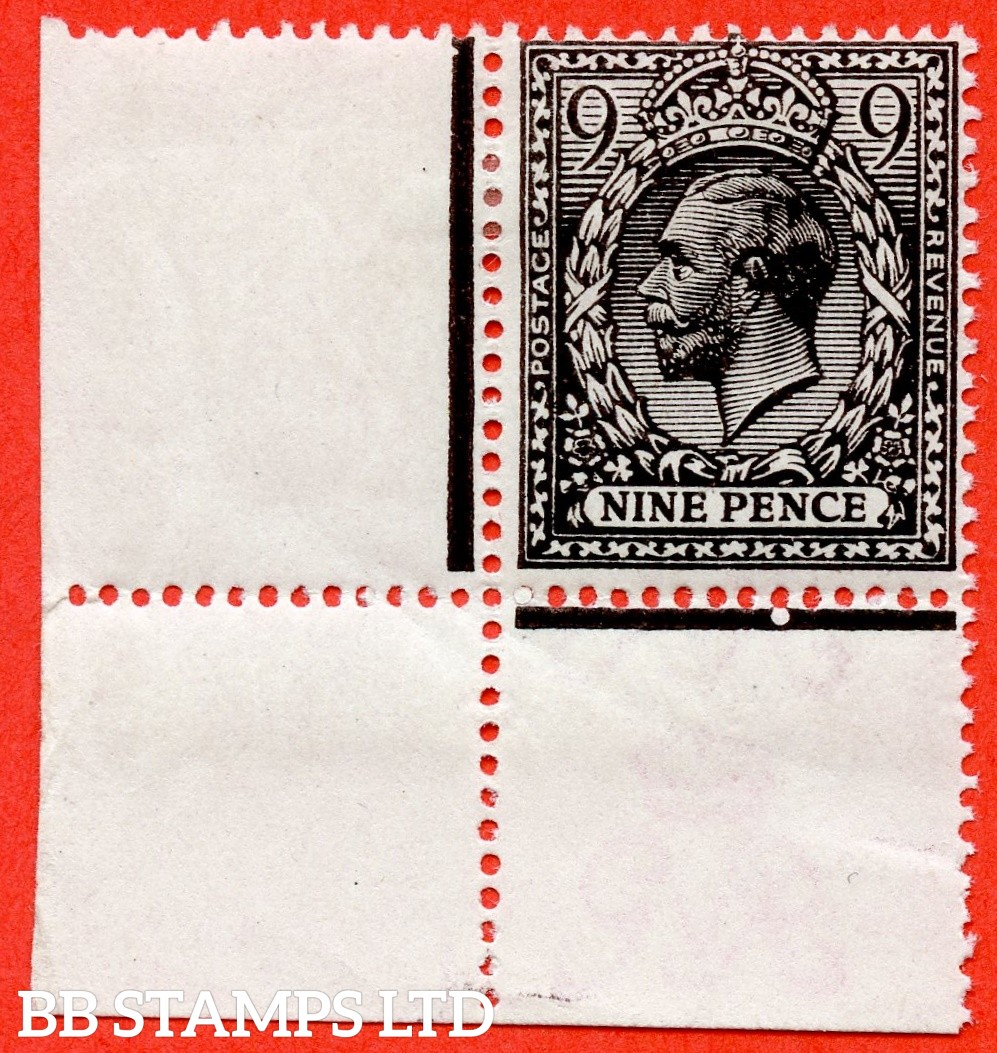 SG. 393 variety N29 ( UNLISTED ). 9d very deep grey black. A lightly mounted mint bottom left hand corner marginal example of this known but unlisted by SG. George V shade variety complete with Hendon certificate.