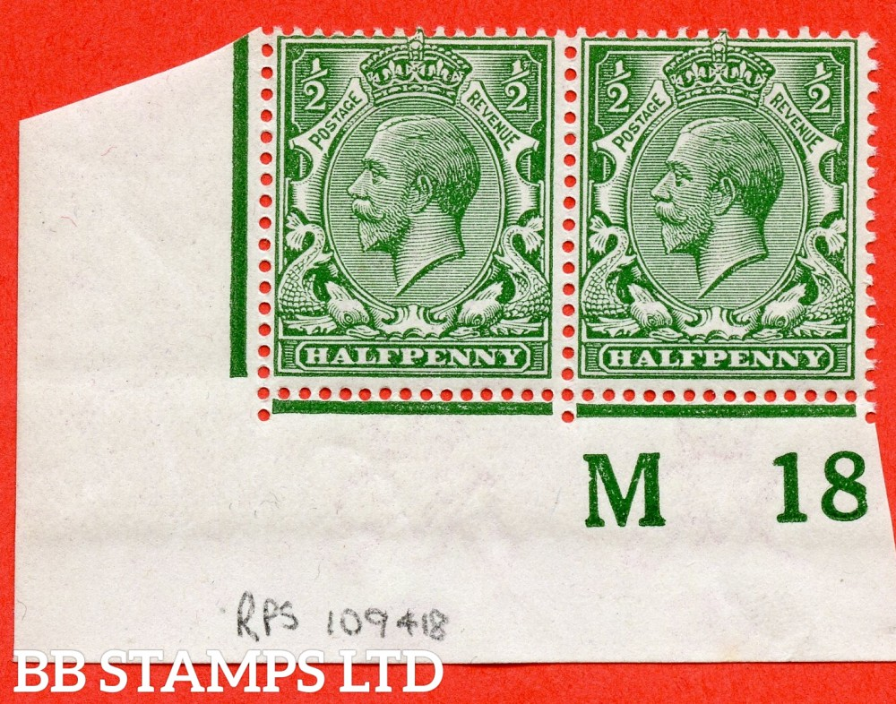"""SG. 351. N14 (1). ½d Green. A super UNMOUNTED MINT control """" M18 imperf """" bottom left hand corner marginal pair complete with RPS certificate which is excellent for reference."""