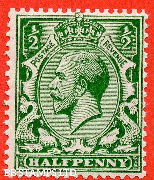 SG. 352 variety N14 (UNLISTED). ½d Very Deep Bright Green. An UNMOUNTED MINT example of this known but unlisted by SG. George V shade variety. Complete with Hendon certificate.